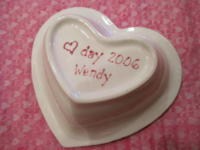 Hand painted heart shaped candy dish