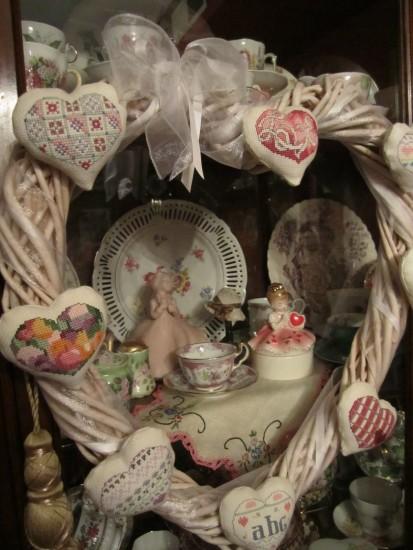 Cross stitch Heart Wreath