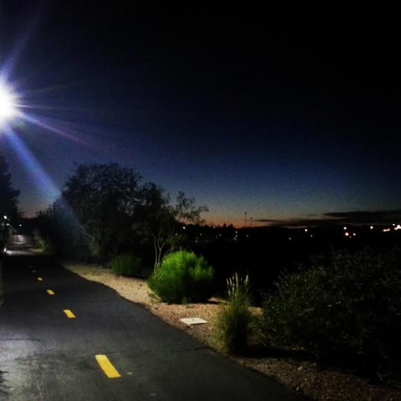 Lights on the walking path