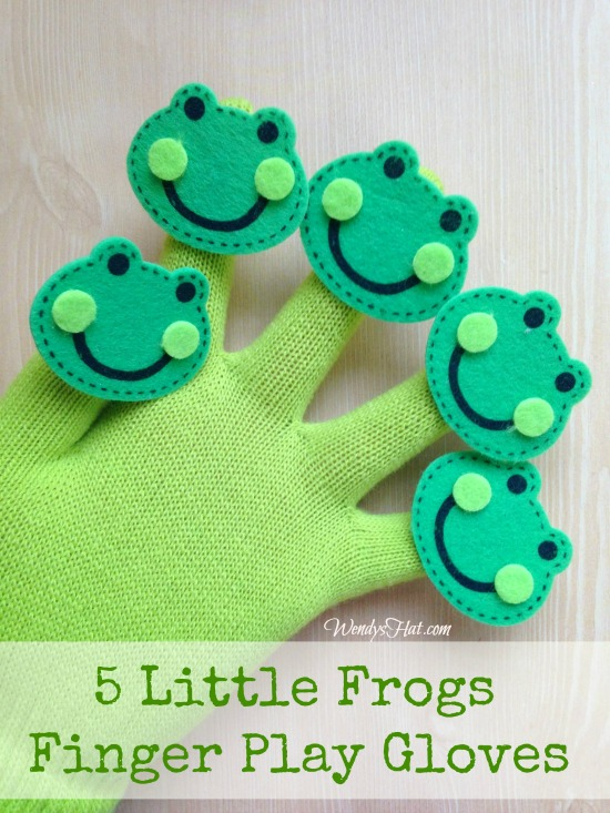 Five little frogs finger play glove wendys hat for Frog finger puppet template