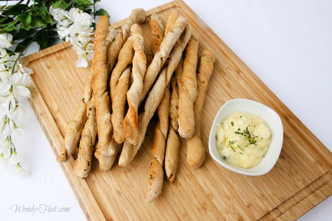 Rustic Bread Sticks with Herb Honey Butter