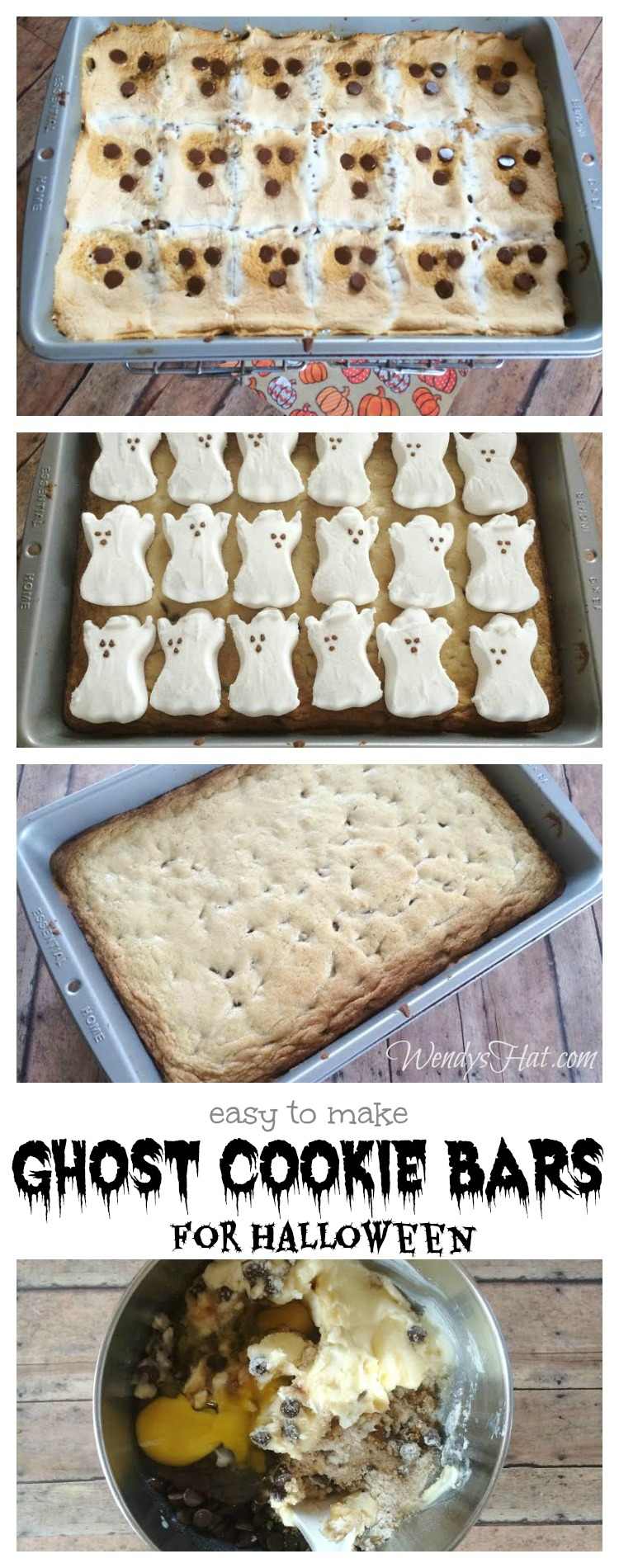 Simple Halloween Ghost Cookie Bars you can make yourself.