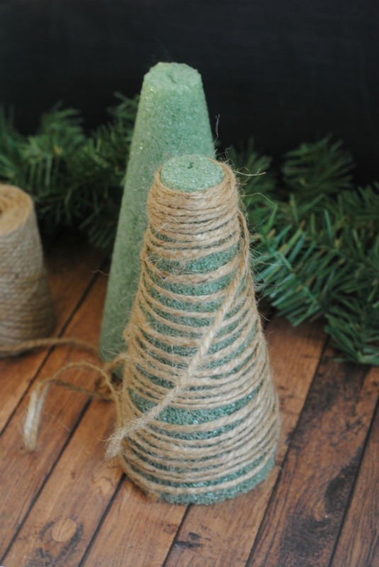 How to make Twine Christmas Trees the easy way.