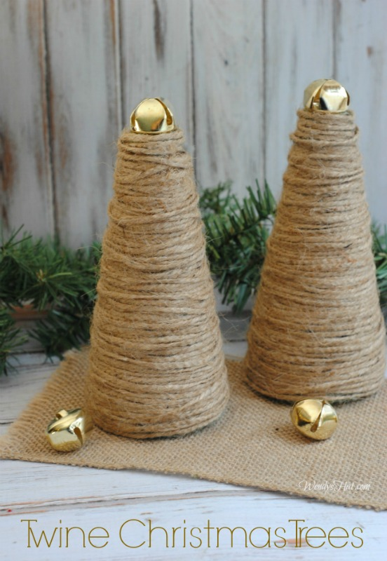 Twine Christmas Trees - simple to make DIY project.
