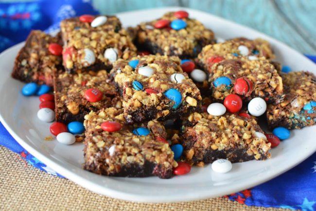 Patriotic M&M Crunch Brownie Bars