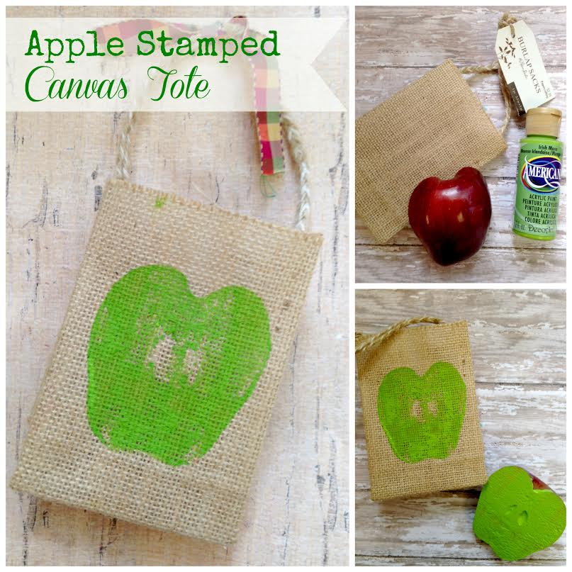 apple stamped canvas tote